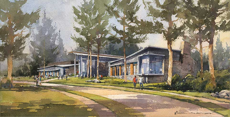 Watercolor architectural illustration of the Barbara Walters Campus Center